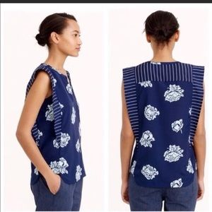 J Crew Graphic Peony Top Navy Blue S